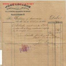 Facturas antiguas: FACTURA DE JOSE LECAROZ CON SELLO TIMBRE MOVIL. SEVILLA. 1897.. Lote 664855
