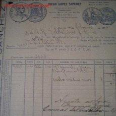Factures anciennes: FACTURA DE DIEGO LÓPEZ SANCHEZ .LEBRIJA.MINAS. Lote 6250489