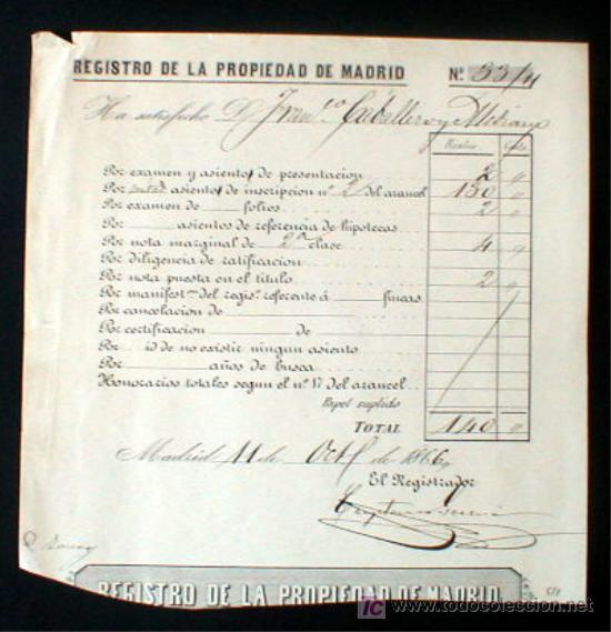 REGISTRO DE LA PROPIEDAD DE MADRID. AÑO DE 1866..ENVIO GRATIS¡¡¡ (Coleccionismo - Documentos - Facturas Antiguas)