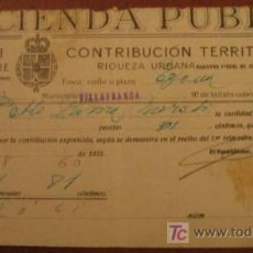 Facturas antiguas: RECIBO DE CONTRIBUCIÓN TERRITORIAL, 1931. Lote 3918515