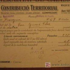 Facturas antiguas: RECIBO DE CONTRIBUCIÓN TERRITORIAL, VILAFRANCA DEL PENEDÉS, 1936. Lote 3918663