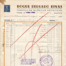 Facturas antiguas: MADRID. 1946. FACTURA. FÁBRICA DE MUÑECAS ARTÍSTICAS. ROQUE DELGADO RIVAS.. Lote 7319879