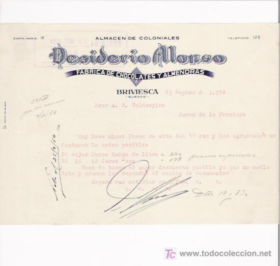 BRIVIESCA(BURGOS)-FACTURA DE CHOCOLATES FABRICA DE CHOCOLATES Y ALMENDRAS ALMACEN DE COLONIALES. (Coleccionismo - Documentos - Facturas Antiguas)