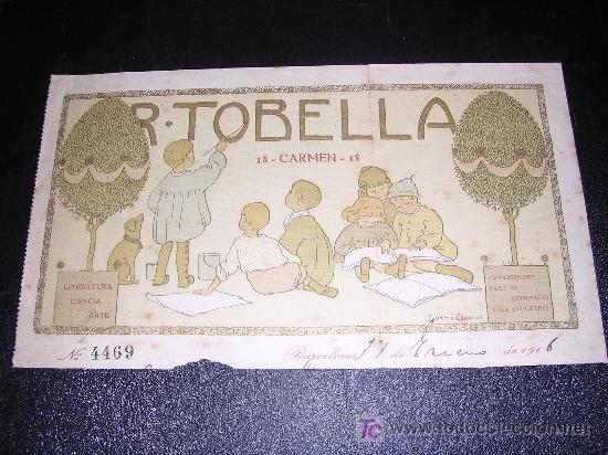 FACTURA MEMBRETE R.TOBELLA, ILUSTRADO POR TORNE ESQUIUS ( ORIGINAL ) (Coleccionismo - Documentos - Facturas Antiguas)