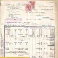 Facturas antiguas: BARCELONA. 1943. FACTURAS DE FABRICA DE GENEROS DE PUNTO. ANTONIO RICART.. Lote 11603610