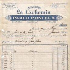 Facturas antiguas: MADRID. 1943. FACTURAS DE ALMACENES LA BOHEMIA. PABLO PONCELA.. Lote 8782003