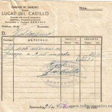 Facturas antiguas: SANTANDER. 1935. FACTURA DE GARAGE M. SANCHO.. Lote 27290864