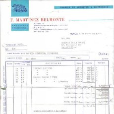 Facturas antiguas: MURCIA. 1971. FACTURA DE FABRICA DE JUGUETES. F. MARTINEZ BELMONTE.. Lote 9744324