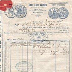 Factures anciennes: LEBRIJA ( SEVILLA). 1928. FACTURA DE DIEGO LOPEZ SANCHEZ.. Lote 8457080