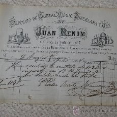 Facturas antiguas: JUAN RENOM -BARCELONA .DEPOSITO DE CRISTAL, VIDRIO, PORCELANA Y GRE .AÑO 1878. Lote 10534314