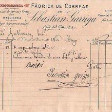 Factures anciennes: RECIBI (FACTURA) DE SEBASTIAN GARRIGA, FABRICA DE CORREAS. .SAN MARTIN DE PROVENSALS. Lote 1187506