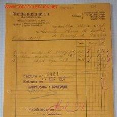 Facturas antiguas: FACTURA, ABRIL DE 1937, CON SELLO EN TINTA TRANVIAS DE BARCELONA, CNT, COMITÉ OBRERO DE CONTROL. Lote 23800272