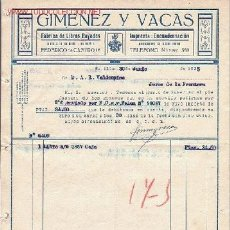 Facturas antiguas: SEVILLA, FACTURA DE GIMENEZ Y VACAS, FABRICA DE LIBROS RAYADOS. IMPRENTA : ENCUADERNACION.. Lote 8481780