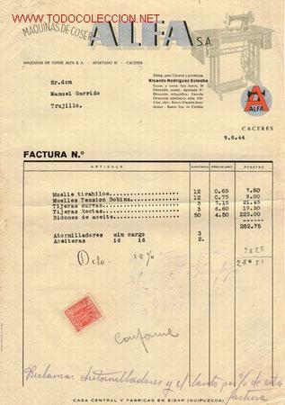FACTURA MÁQUINA DE COSER ALFA DE 1944 (Coleccionismo - Documentos - Facturas Antiguas)
