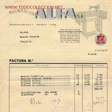 Facturas antiguas: FACTURA MÁQUINA DE COSER ALFA DE 1944. Lote 26730081