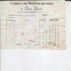 Facturas antiguas: FABRICA DE TEJIDOS DE SEDA. JUAN CLARET. MANRESA . 1834. FACTURA ANTIGUA. TEXTIL.. Lote 9950645