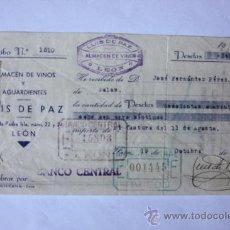 Facturas antiguas: RECIBO ALMACEN DE VINOS Y AGUARDIENTES LUIS PAZ-LEON-1937 GUERRA CIVIL BARIOS SELLOS. Lote 10209197