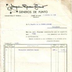 Facturas antiguas: CANET DE MAR ( BARCELONA). 1958. FACTURA DE GENEROS DE PUNTO. JOAQUIN PUJADAS TORRENT.. Lote 10714572