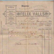 Facturas antiguas: FACTURA DE FELIX VALLS EMITIDA A D. JOSE LUNA FECHADA EN VALENCIA A 20 DE AGOSTO DE 1891. Lote 24398657