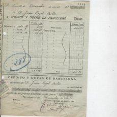 Facturas antiguas: CREDITO Y DOCKS DE BARCELONA. BARCELONA. RECIBO. AÑO 1932. . Lote 10872114