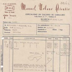 Facturas antiguas: FACTURA. FABRICA DE CALZADOS MANUEL URBANO CABALLERO. ILLUECA. ZARAGOZA. 1962. Lote 11142896