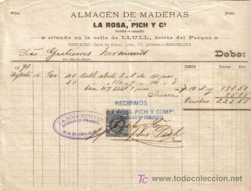 barcelona factura de almacen de maderas la rosa pich y cia