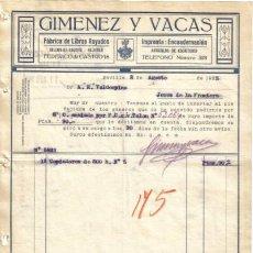 Facturas antiguas: SEVILLA. 1925. FACTURA DE FABRICA DE LIBROS RAYADOS. IMPRENTA ENCUADERNACION. GIMENEZ Y VACAS.. Lote 13392913