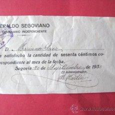 Facturas antiguas: RECIBO-FACTURA. HERALDO SEGOVIANO. 1930. ... ENVIO GRATIS¡¡¡. Lote 13616465
