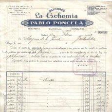 Facturas antiguas: MADRID. 1959. FACTURA DE ALMACENES LA BOHEMIA. PABLO PONCELA.. Lote 14309941