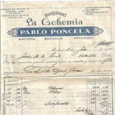 Facturas antiguas: MADRID. 1942. FACTURA DE ALMACEN. LA BOHEMIA. PABLO PONCELA.. Lote 14360161