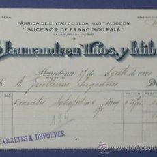 Facturas antiguas: FACTURA FABRICA DE CINTAS DE SEDA, HILO Y ALGODON DE JAUMEANDREU HNOS. Y LLIBRE. BARCELONA, 1920.. Lote 14390670