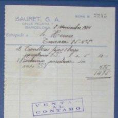Facturas antiguas: FACTURA SAURET S.A. CALLE PELAYO, 7. BARCELONA, 1934.. Lote 14437789
