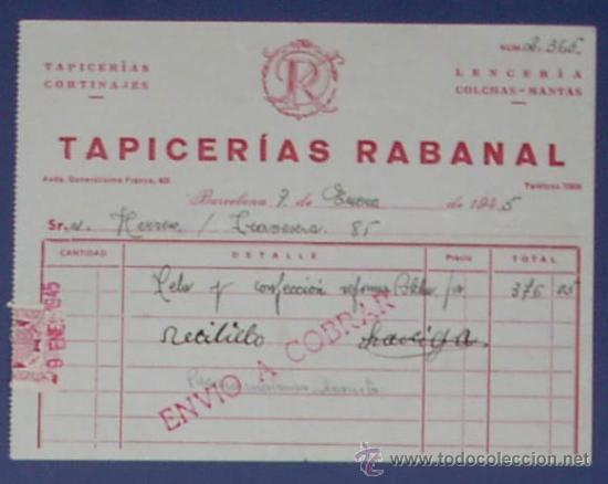 Recibo tapicerias rabanal barcelona 1945 comprar - Tapiceros en barcelona ...