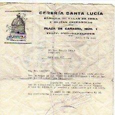 Facturas antiguas: FACTURA. CERERIA SAN LUCIA. FÁBRICA DE VELAS DE CERA Y BUJIAS ESTEÁRICAS. SANTANDER. 1930. ABEJA.. Lote 21164532
