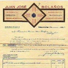 Facturas antiguas: FACTURA. JUAN JOSE BOLAÑOS. VILLAFRANCA DE LOS BARROS. BADAJOZ. IMPRENTA, PAPELERIA . 1932. Lote 14704856