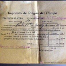 Facturas antiguas: 2 RECIBOS DE IMPUESTO DE PLAGAS DEL CAMPO-PROVINCIA DE AVILA. Lote 17557463