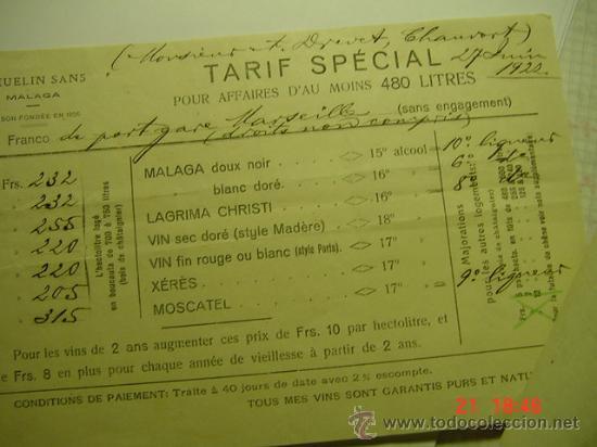 951 MALAGA FACTURA ALMACEN DE VINO Y UVAS PASAS Y FRUTA J.HUELIN AÑO 1922 - MAS EN MI TIENDA C&C (Coleccionismo - Documentos - Facturas Antiguas)
