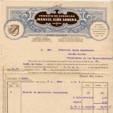 Facturas antiguas: 1934.-FACTURA DE FÁBRICA DE ESENCIAS MANUEL ALÓS LOBERA EN BARCELONA. Lote 16431938