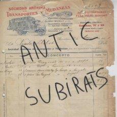 Facturas antiguas: FACTURA ANTIGUA. AÑO 1931. TRANSPORTES Y MUDANZAS. BARCELONA. . Lote 16962456