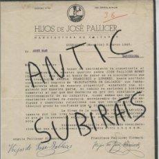 Facturas antiguas: FACTURA. ANTIGUA. CIUDADELA. MENORCA. CIUTADELLA. HIJOS DE JOSE PALLICER. CALZADOS. AÑO 1943. . Lote 16962515
