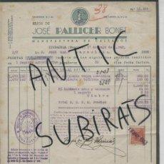Facturas antiguas: FACTURA ANTIGUA. AÑO 1943. JOSE PALLICER BONET. CIUDADELA. CIUTADELLA. MENORCA. . Lote 16962609