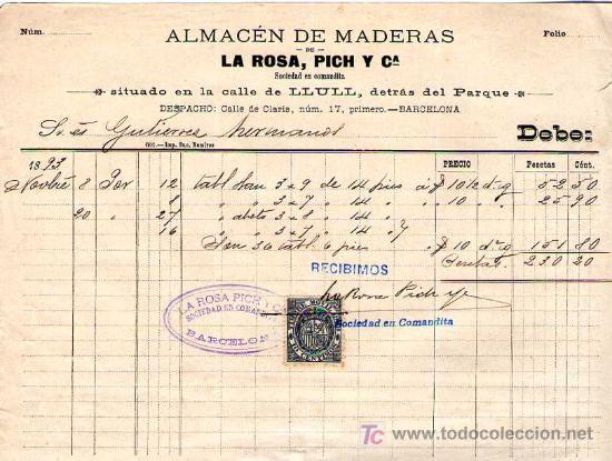 barcelona factura de almacen de maderas la rosa pich y c