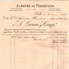 Facturas antiguas: SEVILLA. 1895. FACTURA DE ALMACEN DE FERRETERIA. S. GARCIA Y COMP.. Lote 18047841