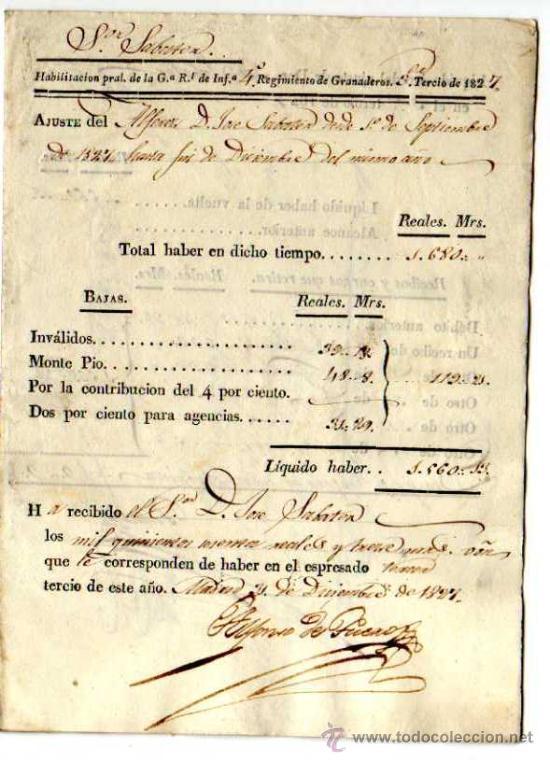 DOCUMENTO MILITAR. AÑO 1827. FACTURA Y RECIBOS EN REALES . REGIMIENTO DE GRANADEROS. (Coleccionismo - Documentos - Facturas Antiguas)