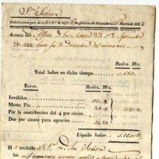 Facturas antiguas: DOCUMENTO MILITAR. AÑO 1827. FACTURA Y RECIBOS EN REALES . REGIMIENTO DE GRANADEROS.. Lote 18064750