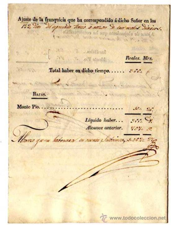 Facturas antiguas: Documento militar. Año 1827. Factura y recibos en Reales . Regimiento de Granaderos. - Foto 3 - 18064750