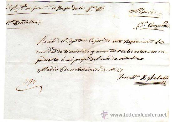 Facturas antiguas: Documento militar. Año 1827. Factura y recibos en Reales . Regimiento de Granaderos. - Foto 5 - 18064750