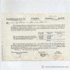 Facturas antiguas: CONTRIBUCIÓN DE CUOTA FIJA. AYUNTAMIENTO DE UTRERA 1839.. Lote 18150732