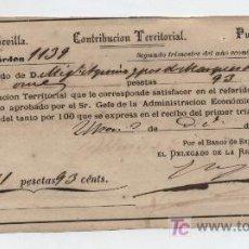 Facturas antiguas: CONTRIBUCIÓN TERRITORIAL.PROVINVIA SEVILLA. RECIBO A NOMBRE DEL MARQUÉS DE CASA ULLOA. 1874.. Lote 18211494
