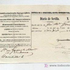 Facturas antiguas: DIARIO DE SEVILLA.RECIBÍ DEL SR. JOSÉ Mº IBARRA (CONDE IBARRA) POR SUSCRICIÓN DE 1850. . Lote 18212544